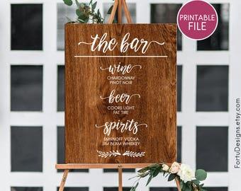 Custom wedding bar sign PRINTABLE Customized wedding bar decor Wood drink menu Wooden bar menu sign Reception sign personalized drink sign