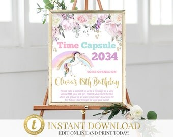 Unicorn Time Capsule, Unicorn Birthday, Time Capsule Sign, Unicorn Party, First Birthday, Baby Time Capsule, 1st Birthday Capsule, Printable