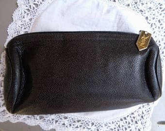 Vintage pouch Yves ST Laurent,Leather pouch vintage, Black pouch,Men ' pouch,women' pouch