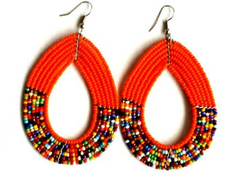 Beaded hoop earrings, handmade beaded earrings, orange bead earrings