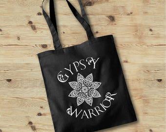 Gypsy Warrior Tote Bag, Yoga Bag, Workout Bag, Bohemian Life Tote Bag, Printed Gypsy Tote Bag, Yoga Tote, Festival Bag, Certified Organic