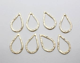 P0651-4/Anti-Tarnished Matte Gold Plating Over Pewter/Angled Teardrop Pendant Connector Small/12x17mm/4pcs