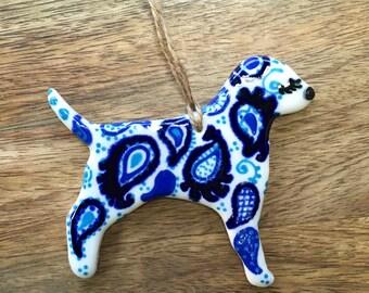 Porcelain Puppy Dog: Cobalt Blue and White