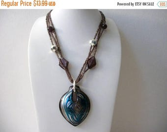 ON SALE Retro EL Stamped Glass Murano Glass Pendant Necklace 71317