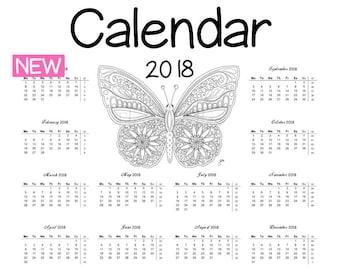 Calendrier 2018 pour Coloriage Coloriage + correspondant - papillon - imprimer livre à colorier année calendrier planificateur, Filofax, planificateur annuel Fleurdoodles