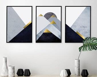 Set of 3 Downloadable Prints Set Printable Mountains Triptych Navy Gold Dark Blue Scandinavian Wall Art Decor Minimalist Poster Trending Now