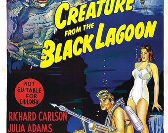 Back to School Sale: The Creature From the Black Lagoon Movie Poster Universal Monsters