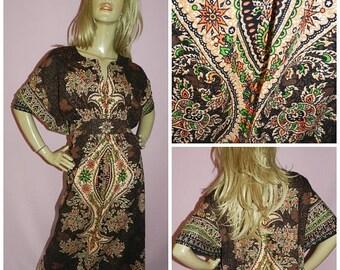 15% off Vintage 90s does 70s Brown/Multicoloured Ethnic BOHEMIAN print caftan dress L 1970s Boho hippy