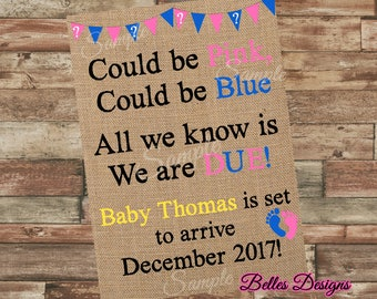 Pregnancy Announcement Burlap, Baby Announcement, Rustic Cute Announcement, Baby Reveal, Pink Or Blue, Digital File