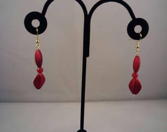 Red satin drop earrings, bead earrings, dangle earrings