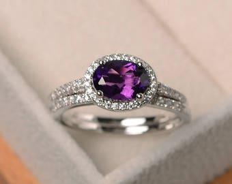 Natural amethyst ring, wedding ring, February birthstone ring, oval cut purple gemstone, sterling silver ring