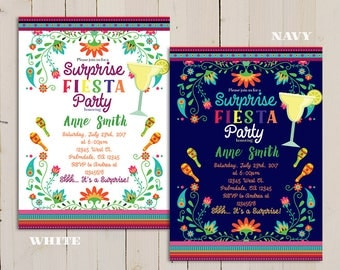 fiesta surprise birthday party invitation, surprise birthday invitation party fiesta girl, colorful fiesta Birthday, shhh it's a surprise
