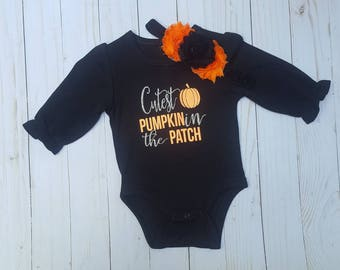 Cutest Pumpkin in the Patch- ruffle sleeve, girl fall outfit, pumpkin shirt girl, halloween outfit, fall shirt for girl, thanksgiving shirt