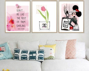 Chanel Prints - Don't be like the rest of them... - Fashion Wall Art - Chanel Quote - Set Of 3 Chanel Prints - Chanel Logo - PRINTABLE