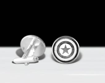 Captain America Cuff Links - Avengers Cuff Links - Superhero Cuff Links - Marvel Comics Cuff Links - Gift for Him - Father's Day Gift