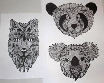 Black & White Illustrated - A4 Animal Prints - Various Designs - Wolf - Koala - Bear
