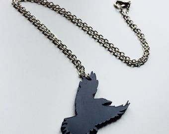 Raven | Crow | Game Of Thrones | Nights Watch | Black | Laser Cut | Acrylic | Necklace