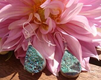 Paraiba Green and Purple Druzy and Amethyst Dangle Earrings