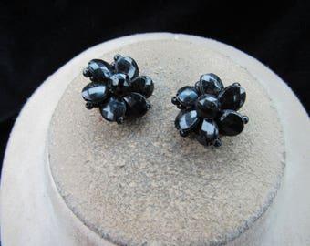 Vintage Pair Of Signed Hong Kong Black Beaded Clip Earrings