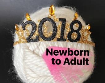 New Years Eve party Crown,2018 Crown,Baby New Years Elastic Headband,New Years Newborn Baby,Baby Crown Headband,2018 new years photo prop