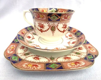 Imari Style Tea Trio, Tea Cup, Saucer, Side Plate, English Hand Painted Transferware Porcelain, Royal Vale China, Immaculate Condition