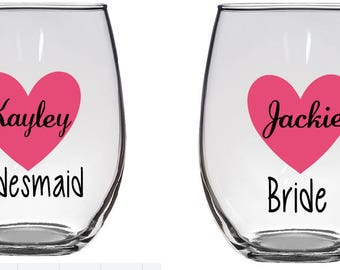 Bridal Party Wine Glass Decal- DECAL ONLY