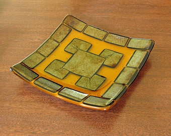 Amber and Gold Fused Glass Plate