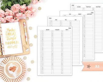 Yearly overview 2018 - printable planner insert - Filofax A5 - Kikki K Large - print at home - planner refill - quarterly insert - YO4P