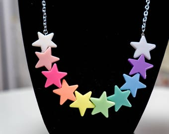 Pastel Rainbow of Stars Necklace - So Kawaii !! J-fashion Decora Lolita Fairy Kei