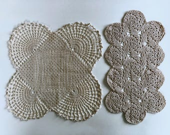 2 Crocheted Doilies, Vintage, Handmade, White,Wheat, 1950s, Crocheted Table Centerpiece, 16 Inch Round Lace Doily, Dresser Scarves