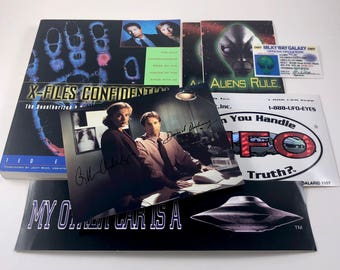 X-Files Confidential Book,Vintage UFO Bumper Sticker, Alien & UFO Stickers, Signed Photo, Encyclopedia, First Edition, 8 Piece Collection