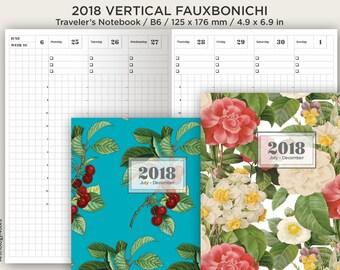 B6 Weekly Vertical Fauxbonichi 2018 - Traveler's Notebook Printable Insert - Wo2P Grid Minimalist