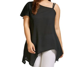One Sleeve Black Chiffon Blouse Shirt - Black