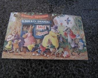 The Sale by Racey Helps Postcard. Medici Society Ltd. London. Printed In England. Gift Christmas. Gift Birthday. Animal Postcard.