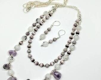 ON SALE Womens 24in Amethsyt Layered Necklace, Beaded Jewelry, Purple Jewelry Set, Dangle Earrings