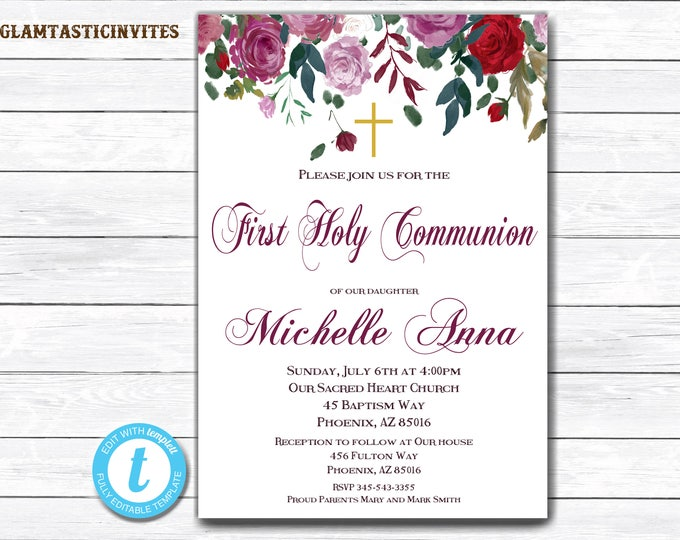 First Holy Communion Invitation, Communion Template, YOU EDIT, Girl Communion Invitation, Floral First Communion Invitation, DIY, Floral