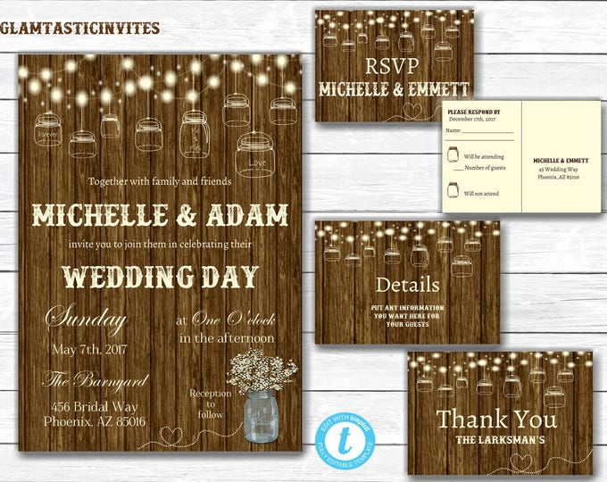 Rustic Wedding Invitation Printable, Country Wedding Invitation, Digital file, Printable, Rustic Template, Wedding Template, Invite Template