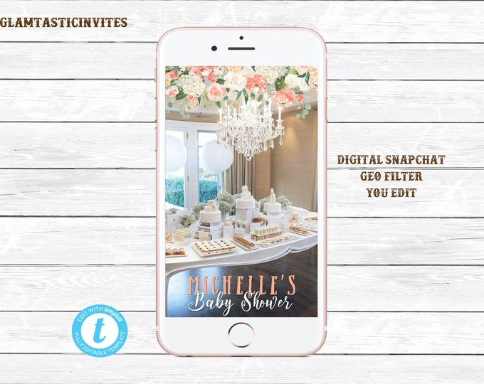 Floral Baby Shower Snapchat Geofilter, Baby Shower Snapchat, Gender Neutral Baby Shower, Boy, Blue Baby Shower Filter, You Edit, DIY, Filter