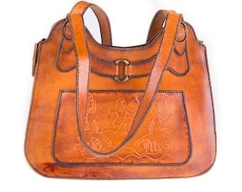 Vintage Cognac Brown Leather Printed Handbag, Shoulderbag