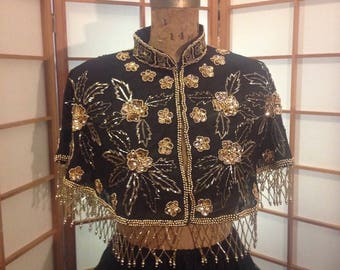 Hand Beaded Gold and Black Cape/Throw Vintage