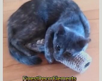 Tube Cat Toys Natural JUTE Crochet