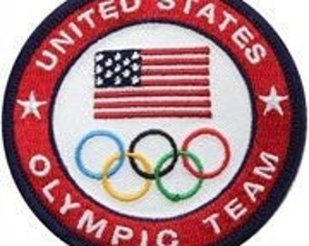 "United States Olympic Team Patch Team USA (4"") Embroidered Iron / Sew on Badge Olympics Costume Applique Motif Souvenir"