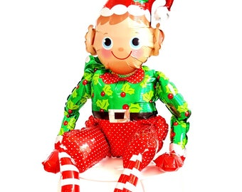 "24"" Sitting Elf balloon air fill only. Jumbo Elf balloon. Holiday balloons. Christmas balloons. Elf decor. Christmas party. Hot chocolate."