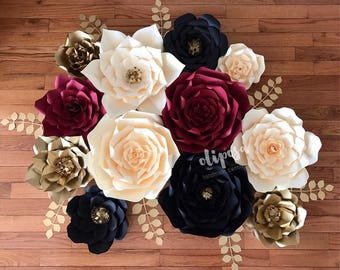 12 pc Paper Flower Set, Wedding, Nursery, Birthday, Engagement, Customize your colors!