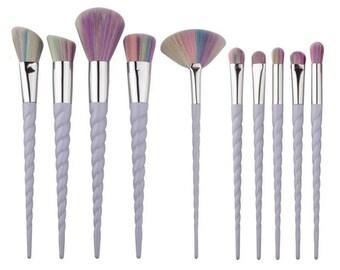10 piece unicorn rainbow make up brush set