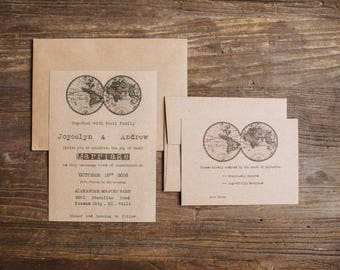 Budget saving Rustic wedding invitation - Old Globe Invitation - Barn Wedding - Rustic Wedding - Vintage wedding - Vintage globe - Typewrite