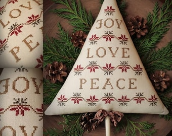 Joy, Love, Peace / Cross stitch pattern / PDF