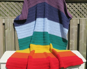 Blanket / Chakra Colors Crochet Blanket Throw / Chakra Blanket / Crochet Blanket / Blanket  / Warm Blanket / Chakra