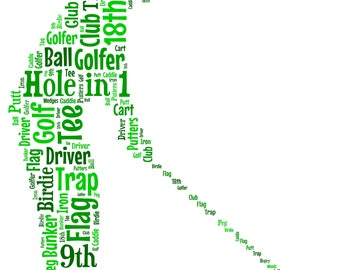 5x7 or A4 Size Personalised Golfer Golfing Word Art Print * Digital File Also Available* Great Gift Idea
