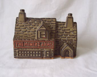 Tremar Pottery Large Money Box c.1970 The Miners Arms